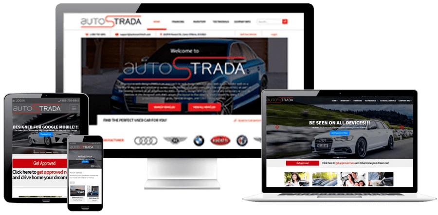 AST autoSTRADA Website Shown On Different Screen Sizes